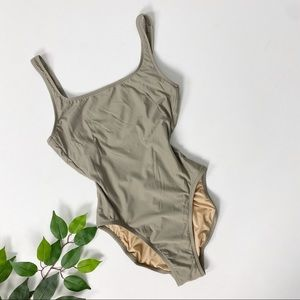 J. Crew Taupe Scoop Low Back One Piece Swimsuit